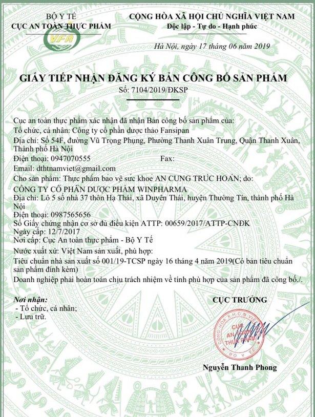 Giấy xác nhận công bố sản phẩm An Cung Trúc Hoàn của Lương y Nguyễn Quý Thanh